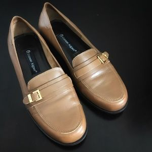 ETIENNE AIGNER Cozy Tan Leather Slip On Loafers